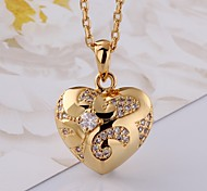 Classical  Diamantes Ox-Horn Love Multicolor Gold-Plated Pendant Necklace(Golden,Rose Gold)(1PC)
