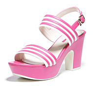 Aokang® Women's Stripe Platform Chunky Heel Sandals (fuchsia)- 142825007