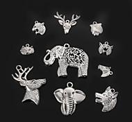 colgantes del encanto beadia cabeza de animal de metal de plata antiguos accesorios de la joyería de bricolaje