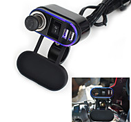 12V-24V Waterproof Car Motorcycle Dual Socket Charger USB Power Adapter