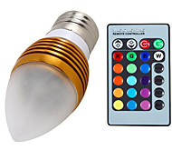 1 pcs E27 5 W 3 Integrate LED 400 LM RGB Dimmable / Remote-Controlled / Decorative Candle Bulbs AC 85-265 V