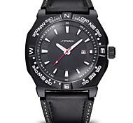 SINOBI Luminous Hands Auto Date Leather Strap Watches Male Brand Casual Quartz Shock Men's Sports Watch Hour