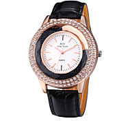JYY® Women's Fashion Rose Gold Crystal Rhinestone Leather Strap Quartz Watches