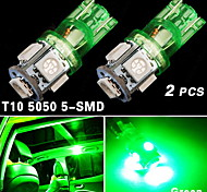 2X US Green T10 192 194 168 LED Car Interior & License tag Light 5 SMD 5050 Bulb