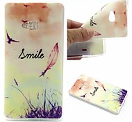 Smiling Face Feathers Words Phrase Pattern 0.6mm Ultra-Thin Soft Case for Lumia N540
