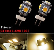 2 PCS G4 5 SMD 5050 LED 3500K High Power 2W Warm White Chip Light Lamp Bulb 12V