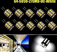 10x Pure White 360°G4 Pin 27 SMD LED 5050 Car Marine Boat Bulb Lamp DC12V 450LM