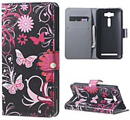 Butterfly Flowers Wallet Leather Stand Case for Asus Zenfone 2 Laser ZE500KG ZE500KL