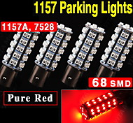 4x Super Red 1157 2357 2057A BAY15D 68-SMD LED Light Bulbs Parking Light DC 12V