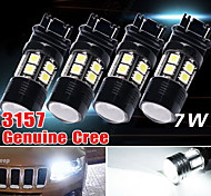 4x 3157/3156 weißen 6000k Leistungs-7W Aushilfsrückprojektor LED-Lampen