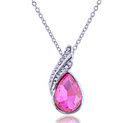 Korean Fashion Studded With Drill   Water Drop Gorgeous Pendant  Alloy Necklace