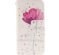 Perfect Hand Painted Lotus Design PU Leather Full Body Case with Card Slot and Stand TPU Cover for iPod Touch 5