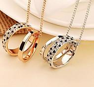 Leopard Print Pendant Chain Double Circle Necklace