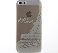 White Love in Paris Pattern Transparent Soft TPU Back Cover for iPhone 5/5S