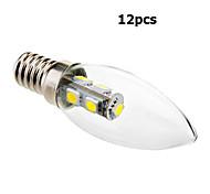 Lampandine a candela 7 SMD 5050 Eastpower C35 E14 1 W Decorativo 70 LM Luce fredda 12 pezzi AC 220-240 V