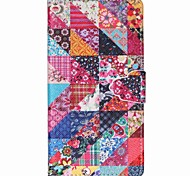 Square Flower Pattern PU Leather Phone Case For Sony M4