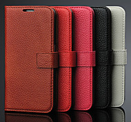 Genuine Leather Litchi Pattern Full Body Phone Protective Case with Stand for Samsung Galaxy S6