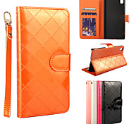 New Style Gird Pattern PU The wallet style forSony Z4 Assorted Color