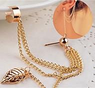 Women's Fashion Pearl Pendant Ear Clip Leaves