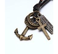 vilam® adujustable collier pendentif PU cuir pour double anneau bateau ancrage Cross Hommes
