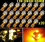 20x Super Bright Amber Yellow T10 /194/168/2825 5 LED Lights Lamp Bulbs 5050 SMD