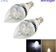 YouOKLight® 2PCS E14 3W 250lm 3000/6000K 3-LED bola Putih hangat / dingin putih Candle light Shaped Lamp (85~265V)