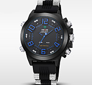 Men's Brand Luxury Double Time LED Black Rubber Band Sports Watch Cool Watch Unique Watch
