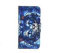 Blue Cat Pattern PU Leather Full Body Case with Card Slot and Stand for iPhone 5C