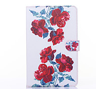 Red Peony Pattern PU Leather Full Body Case with Stand for Galaxy Tab E 9.6 T560