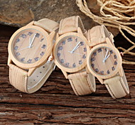 Couple's Parent-Child Khaki Wood Style PU Band Casual Quartz Watch Cool Watches Unique Watches Fashion Watch