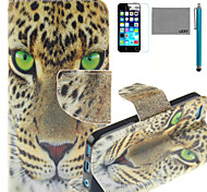 LEXY® Green Eyes Leopard Pattern PU Full Body Leather Case with Screen Protector and Stylus for iPhone 5C