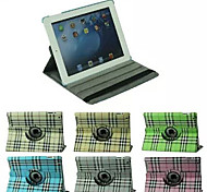 Grid Pattern 360 Degree Rotating  PU Leather Full Body Case with Stand for iPad 4/3/2 (Assorted Colors)