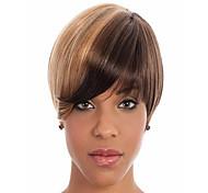 de alta calidad sin tapa sintética corta color de la mezcla de castaño joven recta pelucas plena explosión