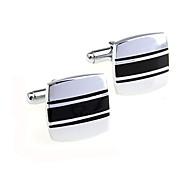 Men's Cufflinks Black Stripes Pattern