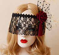 Exaggerated Red Rose Bud Silk Half Mask