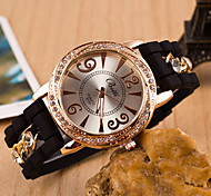 L.WEST Metal chain Silicone Diamonds Quartz Watch