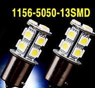 2 X White 1156 BA15S 13-SMD 5050 LED Light bulbs Turn Signal Backup Reverse