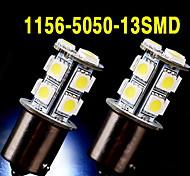 2 x blanco 1156 BA15S 13 SMD 5050 LED bombillas convierten la señal de respaldo inversa