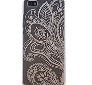 medio patrón de flores caja del teléfono transparente esmerilado material de la PC de células para Huawei p8 Lite