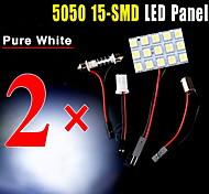 2 X Festoon T10 BA9S White LED 5050 15SMD Panel Car Interior Dome Map Light Lamp