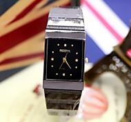 unisex Mode Uhr rechteckigen schwarzen Stahl Quarzuhr