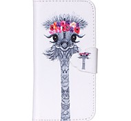 Finger Buckle Ostrich Head Painted PU Phone Case for iphone5C
