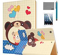 lexy® beau modèle ours PU cuir flip reposer cas avec protecteur d'écran et un stylet pour iPad air 2 / ipad 6