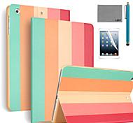 lexy® motif coloré de bande PU cuir flip reposer cas avec protecteur d'écran et un stylet pour iPad air 2 / ipad 6
