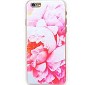 Pink Lily Pattern Transparent PC Back Cover for iPhone 6