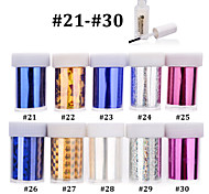 10pcs Nail Art Transfer Foil Sticker Paper with 1pcs Nail Foil Adhesive Glue (#21-#30)