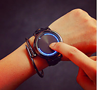 Intelligent Round Belt, Simple Black And White Men And Women Couples On A Waterproof LED Watch