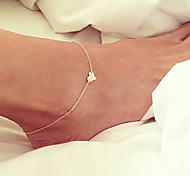 Women's Anklet/Bracelet Gold Plated Unique Design Fashion Simple Style Heart Jewelry Golden Women's Jewelry For Party Daily Beach 1pc