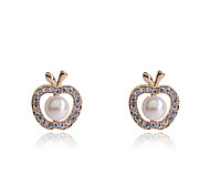 Korean Fashion  Studded With Drill Apple Pearl  Earrings