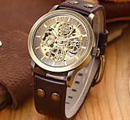SHENHUA® Men's Vintage Skeleton Bronzen Leather Band Automatic Mechanical Wrist Watch Cool Watch Unique Watch